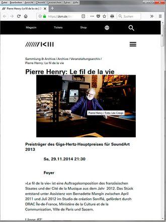 """Pierre Henry: """"Le fil de la vie"""". Prolog–Gedicht"""